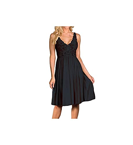 Shadowline Womens Silhouette Lace Bodice Sleeveless Waltz Gown, Black, Large