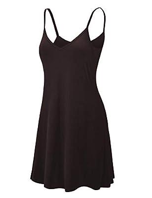 Lock and Love LL WDR1090 Womens V Neck Spaghetti Strap Tunic Short Dress XL Black