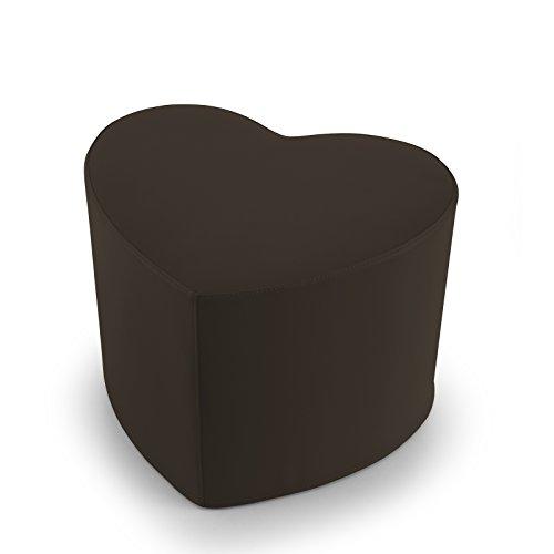 EXTOITALY Coeur Marron Pouf en Cuir synthétique Adapté à séance mis.50 x 41 h.41 cm. Déhoussable Disponible en 10 Couleurs intérieur en polyuréthaneNome articolo (Titolo)