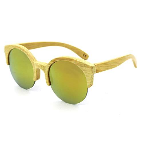 KDXBCAYKI Gafas de sol de bambú de madera hechas a mano semi-sin montura redondas Lente de color Protección UV400 para hombres Mujeres Diseño de moda clásico de alta gama, protección UV Estilo de la c