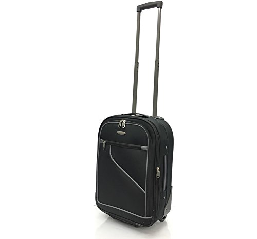 Ryanair, EasyJet, Jet2, Wizzair, BA and Many More Airlines Cabin Approved Super Lightweight Durable Expandable Carry-ons Hand Luggage Trolley 2 Wheeled Luggage Bag (18' Ryanair, Black/Grey Trim)