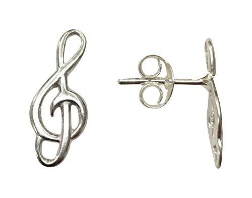 Sicuore Pendientes Clave de Sol Notas Musicales - Plata De Ley 925 Incluye Cadena De Plata De 45cm Y Estuche para Regalo