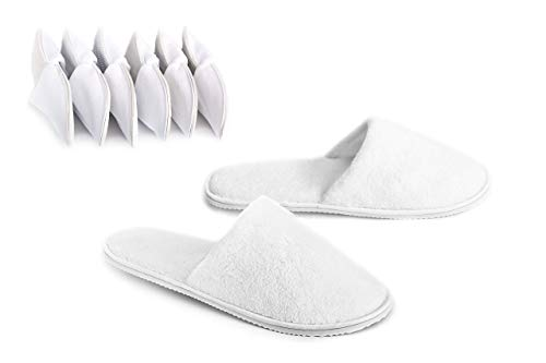 DŠ Stuff Spa Slippers - 6 Pairs, 3M and 3L, Non-Slip Sole, Cotton Velvet Closed Toe, Disposable Slippers for Guest, Men, Women - Perfect for Home, Hotel, Spa, Commercial and Travel Used - White Color