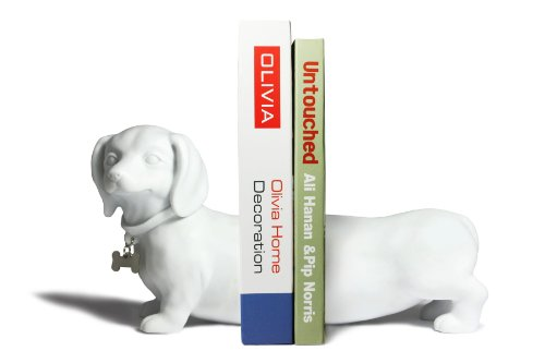 Dachshund Bookend Set - White