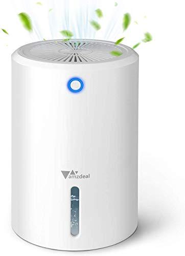 amzdeal Luftentfeuchter - 900ml Mini Elektrischer Entfeuchter mit Trennbarer Wassertank, Automatische Abschaltung, Ultra-leiser Tragbarer Raumentfeuchter gegen Feuchtigkeit für Hause Schlafzimmer