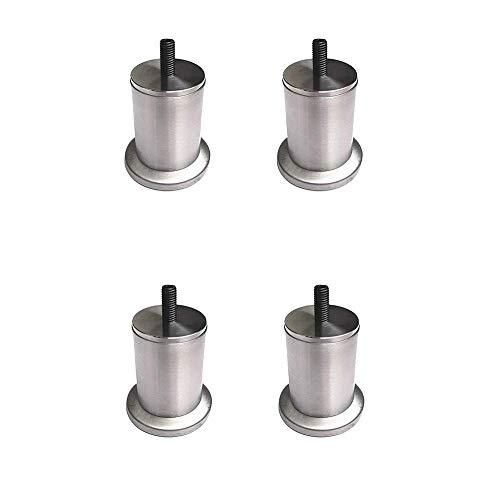 GAXQFEI Patas de Muebles Pies de Cama de Metal Sofá de Plata Cepillado Soporte de Soporte Mesa de Repuesto Pies Redondos M10 Tornillos Paquete de 4,500Mm