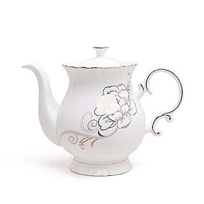 Jomop European Style Ceramic Flower Teapot Coffee Pot Water Pot Porcelain Gift Petal Large 5.5 Cups (1, White)