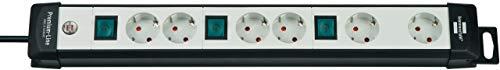 Brennenstuhl Premium-Line, Steckdosenleiste 6-fach (Steckerleiste mit 3 Schaltern und 3m Kabel - 45° Winkel der Schutzkontakt-Steckdosen, Made in Germany) schwarz/grau