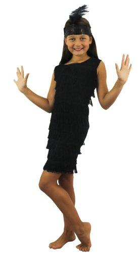 Déguisement Charleston avec cette petite jupe noire à franges sur le devant + un bandeau avec une plume pour enfant. Idéal pour les fêtes de fin d'école ou les spectacles de danse.