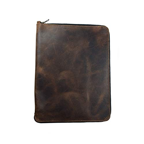 Hide & Drink, Rustic Durable Leather Zippered Journal Cover for Moleskine Notebook, XXL (8.5 x 11 in.), Notebook NOT Included, Cahier Case, Handmade Includes 101 Year Warranty :: Bourbon Brown