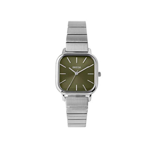 BREDA Esther 1735a Square Silver Wrist Watch with Stainless Steel Bracelet, 26mm