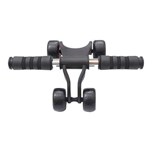 ABOOFAN Power Roller Multifuncional Hogar Gimnasio Fitness Equipo Abdominal Muscle Cuatro Ruedas para Hombres Mujeres (Negro)