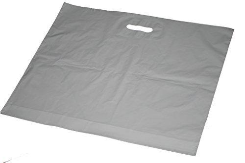 100 Stück MDPE Grifflochtragetaschen Weiss 57 x 50cm Plus 5 cm Dehnfale 50my