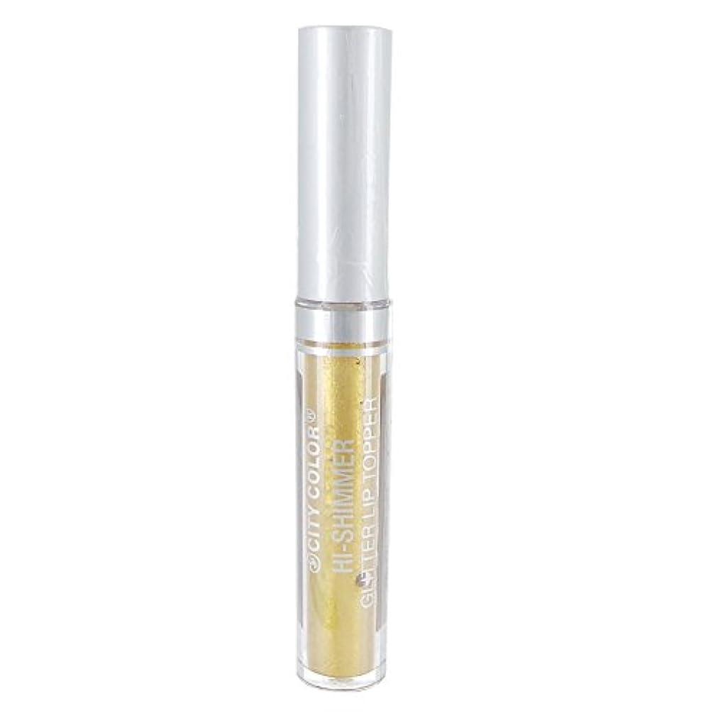 レタッチおしゃれじゃないオール(3 Pack) CITY COLOR Hi-Shimmer Glitter Lip Topper - Gold (並行輸入品)
