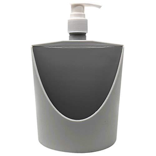 Space Home - Organizador para Estropajo + Dosificador de Jabón - Organizador de Limpieza - 2 en 1 - Gris