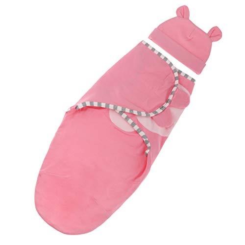 Bebé Infantil Algodón Dormir Ropa de Cama Swaddle Wrap Recibir Manta Conejo Sombrero - Rosa roja