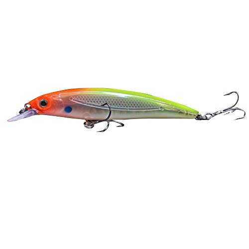 TOOGOO(R) 14g 11cm Plastic 3D Eyes Minnow Fishing Hard Lure Crank Bait Tackle Treble Hook Diving 2m-Green back
