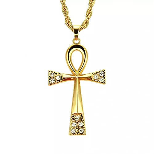SOTUVO Collar con Colgante de Cruz Ankh de Color Dorado y Plateado para Mujeres y Hombres, Collar de Cadena Larga con Diamantes de imitación con Cruz egipcia, joyería Masculina