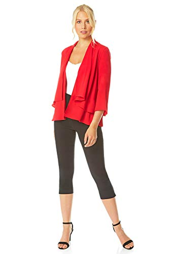 Roman Originals Women Chiffon Waterfall Front Jacket - Ladies Smart Casual Special Occasion Open Edge to Edge 3/4 Sleeve Lightweight Plain Evening Party Cover Up Jackets - Red - Size 10