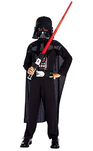 Costume star wars darth vader - guerriero - travestimenti per bambini - halloween - carnevale - nero - nero - completo - spada inclusa - bambino - taglia 5° - 2-3 anni - idea regalo
