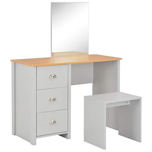 vidaXL – Tocador con espejo taburete 3 cajones Moderno – Tocador – Cómoda – Mesa de tocador gris 104 x 45 x 131 cm