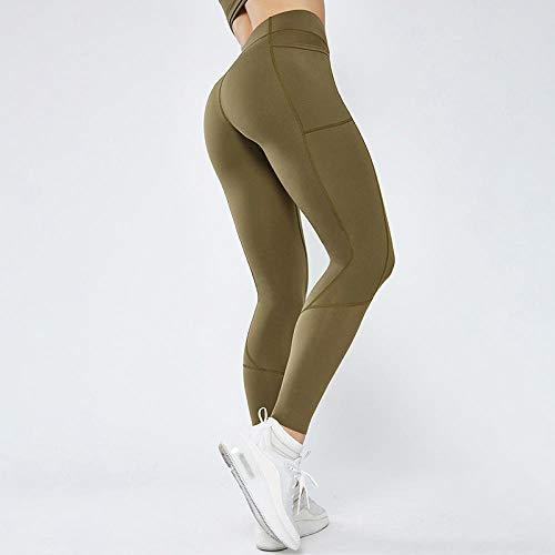 LYWZX Leggings De Yoga para Mujeres Seamless Gym Leggings Sport Pants Anti-Sweat Women Yoga Leggings with Pocket Elastic Women Sports Wear For Gym-D_M