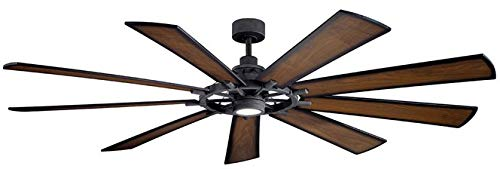 Kichler 300285DBK Gentry XL 85' Ceiling Fan with LED Lights and Wall Control, Distressed Black