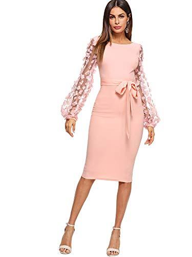 SheIn Women's Elegant Mesh Contrast Bishop Sleeve Bodycon Pencil Dress Large Pink