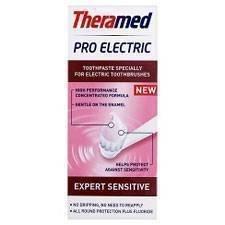 2 x Theramed Pro Electric Sensitiv - Dentifricio a forma di stella dentale appositamente progettato per spazzolini elettrici, colore: bianco intenso, protezione completa e fluoruro
