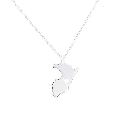 YOUHU Collar Mujer Mapa,Perú Mapa Metal Colgante Plata En Forma De Corazón Hueco País Mapa Cadena Gargantilla Encanto Mujeres Hombres Aniversario Joyería De Moda