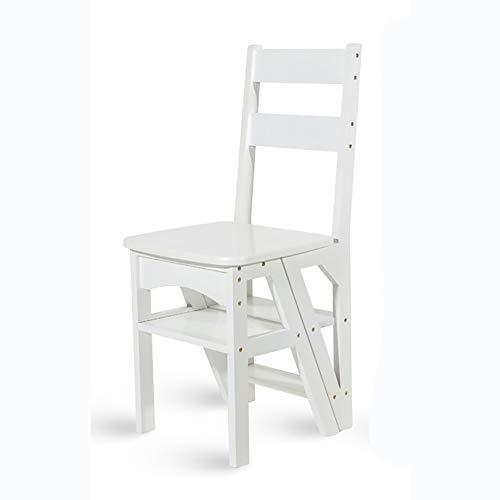 LRZLZY Taburete de madera de bambú multifuncional para el hogar, silla plegable para niños 2 con elevación de 4 pasos, fácil de transportar y mover (color: blanco)