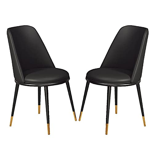 HYRGLIZI Counter Chairs Leather Dining Chairs Set of 2 with Comfy Upholstered Padded Seat Metal Legs Leisure Chairs for Dining Room and Bedroom (Color : Black)