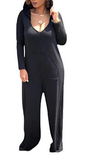 SOWTKSL Women Comfy 3/4 Sleeve V-Neck Wide Legs Palazzo Pants Hoodie Jumpsuits Romper Black M
