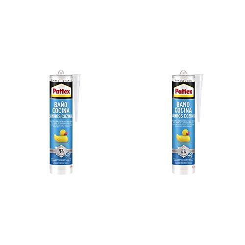 Pattex Baño y Cocina Blanco 1x280 ml + Pattex Baño y Cocina Transparente 1x280 ml