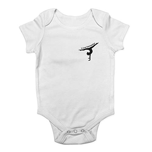 Promini I Love Gymnastics Body de bolsillo con diseño de pecho izquierdo para bebé Blanco blanco 9 mes