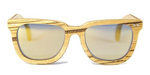 Gafas de madera Charles Zebrano Lente Oro Espejo - FELER