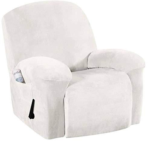 Velvet Sofa en Peluche, président Recliner Slipcover, Couverture Recliner, Spandex Housses en Tissu Extensible, pour Chaise Canapé inclinable Covers-Blanc crème