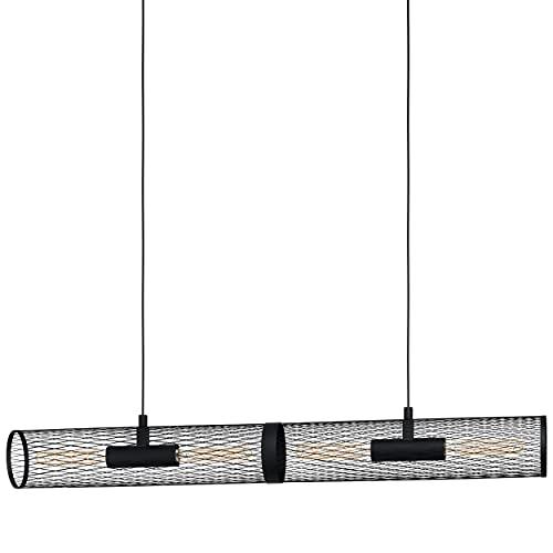 EGLO Lámpara colgante Redcliffe, 4 focos, lámpara de techo moderna, industrial, lámpara de techo de metal en negro, lámpara de comedor, lámpara de salón colgante con casquillo E27