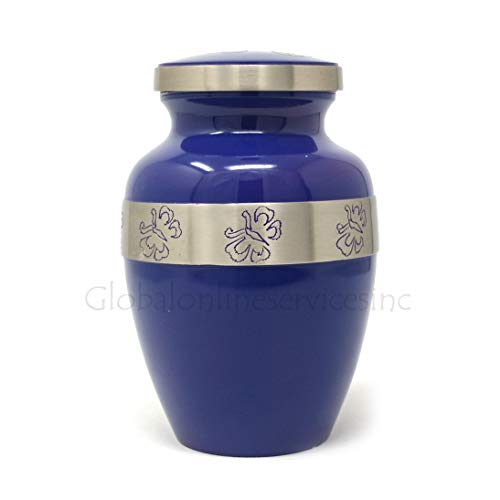 Cremation Urns by Meilinxu Silvery Shine, Large keepsake Urn Display Burial Urn At Home or in Niche at Columbarium Hand Made in Brass//Hand Engraved Funeral Urn for Human Ashes Adult and Memorial