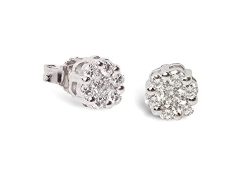 Pendientes de mujer de oro con diamantes de 1,05 quilates con punto de luz, de oro blanco de 18 quilates, ideal como regalo para mujer, con diamantes extra blancos