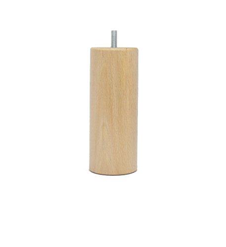 La Fabrique de Pieds AM20170002 Jeu de 4 Pieds de Lit Cylindres Bois Verni Clair 15 x 6 x 6 cm