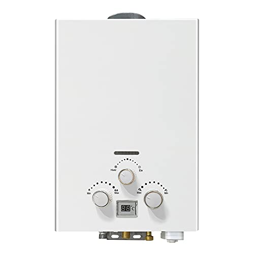 RBAYSALE Gas Water Heaters 6L 1200W 2800Pa LPG Instant Hot Water Heater Boiler Tankless Portable with Shower Head Pure Copper Water Tank for Bath Indoor Outdoor Glamping RV Caravan Horse