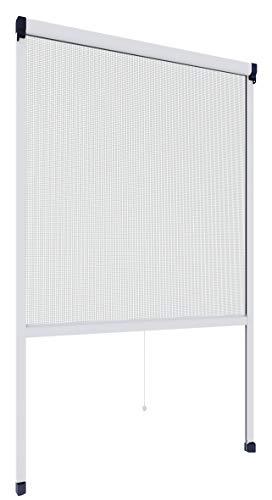 Rhino Insect Screen Insektenschutz Rollo Fliegengitter Alurahmen für Fenster, individuell kürzbar, weiß, 130 x 160 cm, 03963