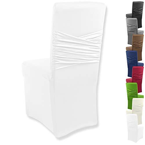 Gräfenstayn® Stretch coprisedia Victoria - schienali Rotondi e angolari - vestibilità bielastica con Guarnizione Oeko-Tex Standard 100:' Fiducia certificata (Bianco)