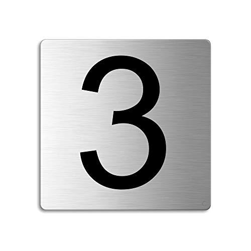 Plaque Numéro de porte 3 | 85x85 mm autocollant | acier inox brossé Nr.48303