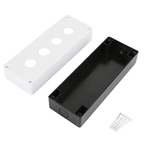 Caja de interruptores, Chacerls Caja de interruptores BX4 22 mm Botón de cuatro orificios Control de interruptor Caja protectora Caja impermeable(blanco)