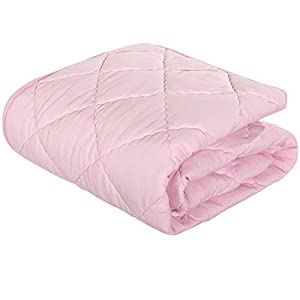 NTBAY Down Alternative Oversized Toddler Comforter, Super Soft and Warm Solid Color Baby Crib Quilted Blanket, 43 x 60 inches, Pink