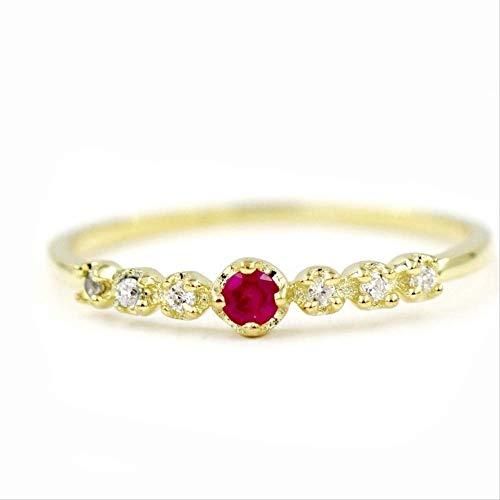 IWINO schattige kleine damesmode 14K vergulde vierkante robijnrode diamanten ring