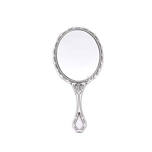 Decorative mirror-QFF Rétro petit miroir, Miroirs de poche en métal Princesse tenue miroir de maquillage Portable Vanity Mirror Taille Voyage étanche Miroir (Color : Silver, Size : 13.5 * 6.5CM)