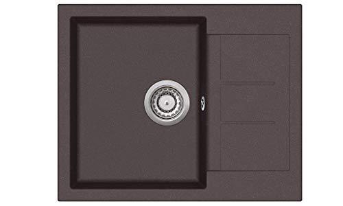 Granitspüle W620 Küchenspüle in versch. Farben Einbauspüle Granit inkl. Drehexcenter, Ab- und Überlaufgarnitur ab 45er Spülenunterschrank Made In Germany (braun)
